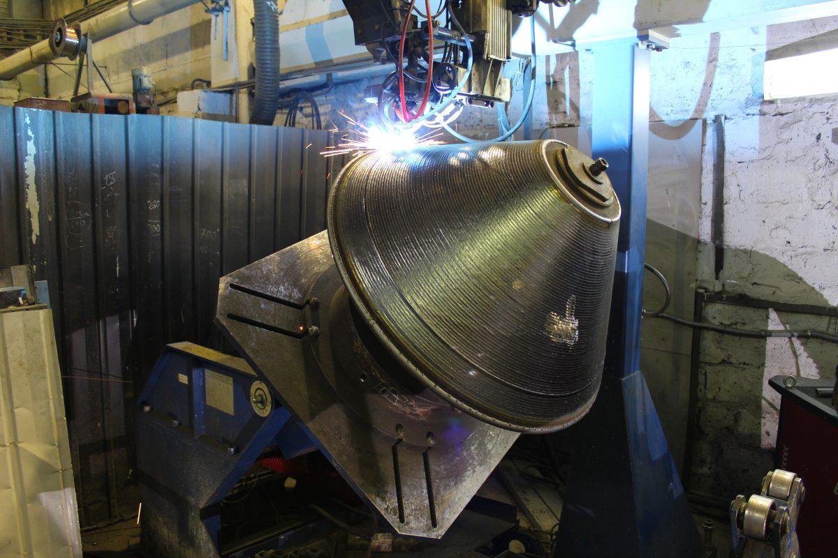 Наплавка конуса ротора дробилки